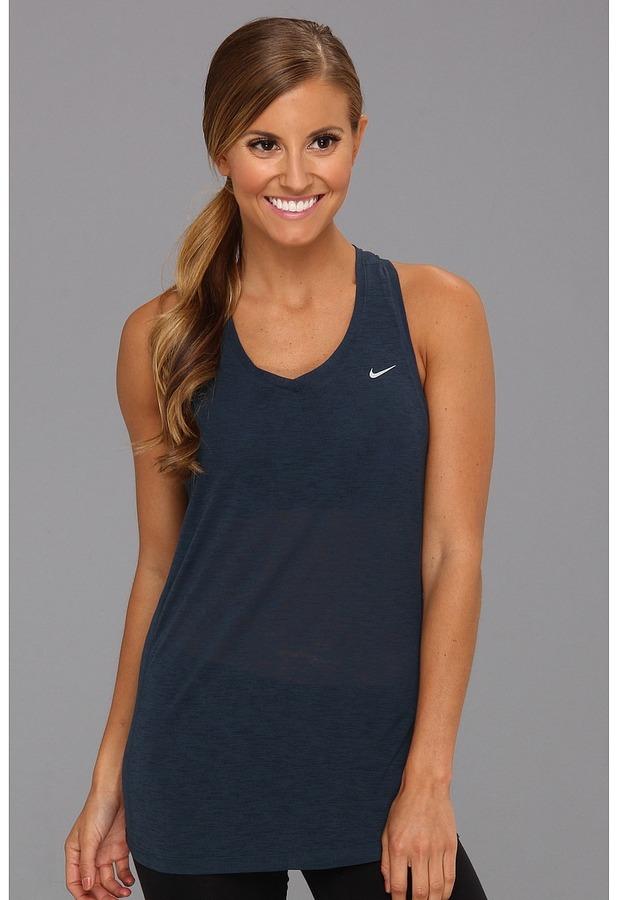 Nike Breeze Tank (Armory Navy/Reflective Silver) Women's Sleeveless