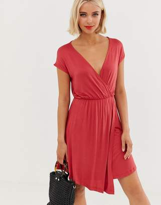 Brave Soul wrap front dress in cranberry