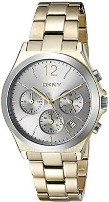 DKNY DNKY5) Women's Quartz Watch with Black Dial Analogue Display and Gold Stainless Steel Bracelet NY2452