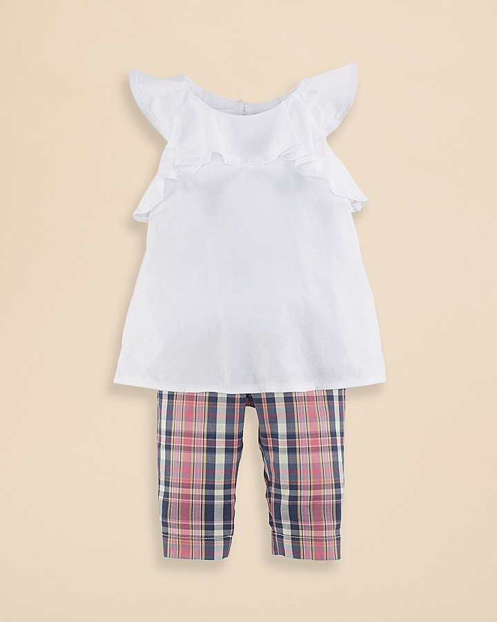 Ralph Lauren Infant Girls' Ruffled Top and Madras Capri Pants Set - Sizes 9-24 Months