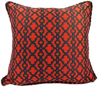 One Kings Lane Vintage Red & Black Lattice Pillow - Kakar House of Design