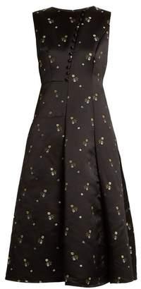 Erdem Yasmine floral-embroidered duchess satin gown