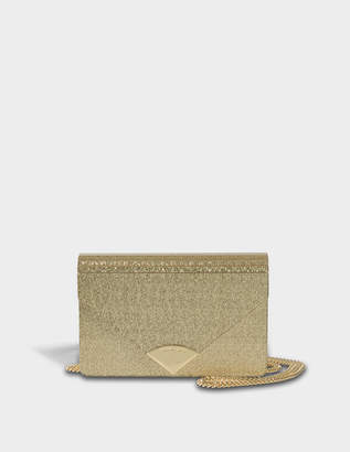 MICHAEL Michael Kors Barbara Medium Envelope Clutch Bag in Gold Met Leather 18K