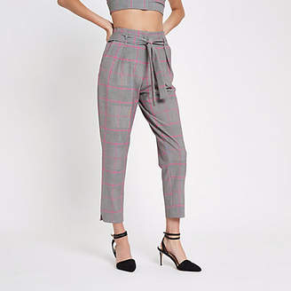 River Island Womens Pink check tapered trousers