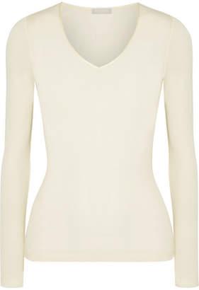 Hanro Merino Wool And Silk-blend Jersey Top - Cream