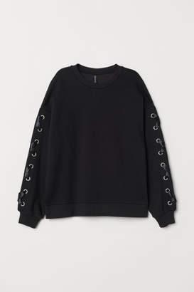 H&M Sweatshirt with Lacing - Black