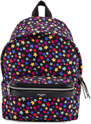 Saint Laurent Star Mini City Backpack in Black & Multicolor | FWRD