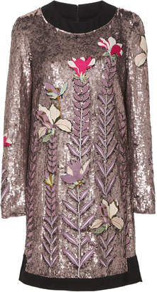 Temperley London Magnolia Satin Sequin Embroidered Dress