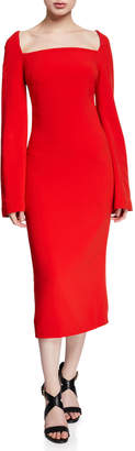 Brandon Maxwell Bell-Sleeve Square-Neck Midi Dress