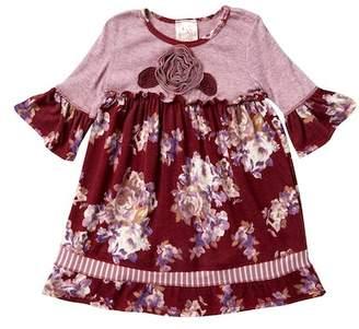 Pink Vanilla 3/4 Length Sleeve Hacci Floral Empire Waist Dress (Toddler & Little Girls)