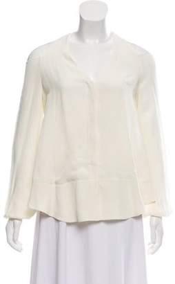 Tamara Mellon Long Sleeve Silk Top