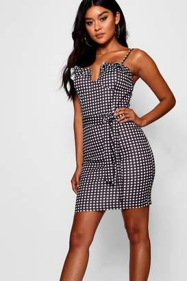 boohoo Layla Gingham Ruffle Bust Bodycon Dress