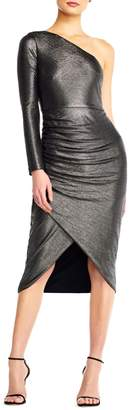 Aidan Mattox Aidan One-Shoulder Long-Sleeve Metallic Jersey Dress