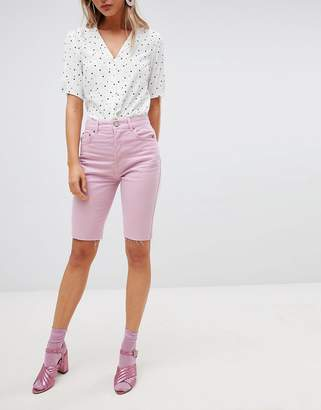Asos DESIGN denim longline short in lilac