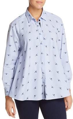 Marina Rinaldi Bahamas Bee & Stripe Print Button-Down Shirt