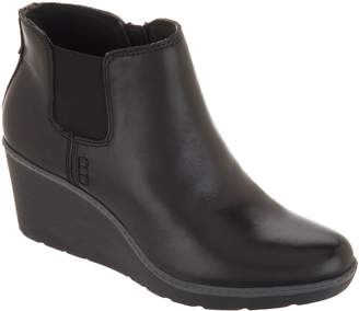 Clarks Leather Slip-On Wedge Boots - Hazen Flora