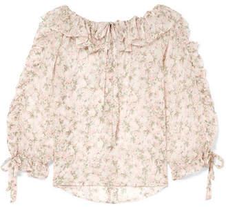 Paul & Joe Tourbillon Ruffled Floral-print Silk-crepon Blouse