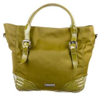 Burberry Patent Leather-Trimmed Medium Hobo