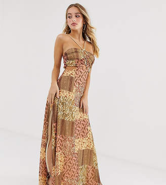 Asos Design DESIGN maxi dress in crinkle chiffon with rope trim bodice detail in scarf print