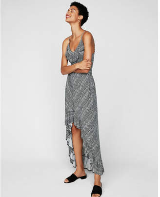 Express petite geometric ruffle smocked waist maxi dress