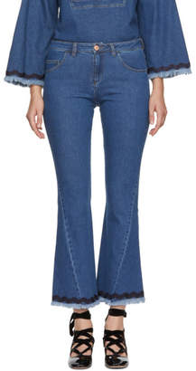 See by Chloe Blue Contrast Spiral Jeans