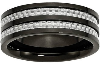 Primal Steel Titanium 8mm Black IP-plated with Carbon Fiber Inlay Polished Band