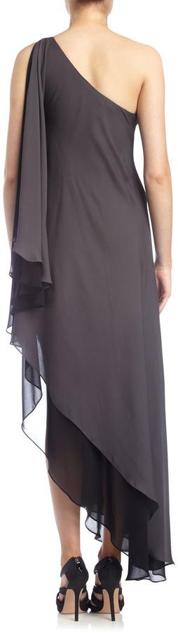 Alexia Admor Cascading Chiffon One-Shoulder Gown