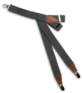 Black & Brown Black Brown Faux Leather-Accented Suspenders