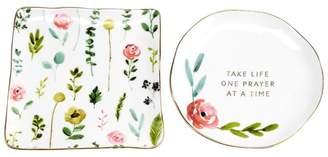 Hallmark Home & Gifts Prieto One Prayer at a Time and Floral Ceramic 2 Piece Trinket Tray Set