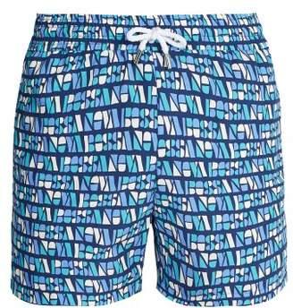Frescobol Carioca - Sports Bossa Print Swim Shorts - Mens - Blue Multi