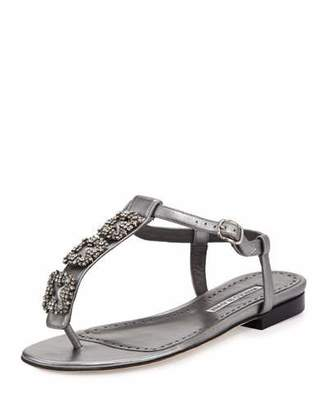 Manolo Blahnik Ottolina Crystal T-Strap Sandals, Silver