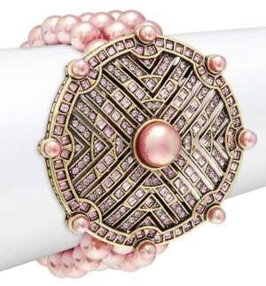 Heidi Daus Simulated Pink Pearl & Crystal Round Wedge Bracelet