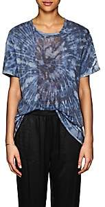 Raquel Allegra Women's Tie-Dyed Shredded Silk T-Shirt - Blue