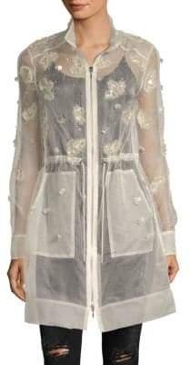 Elie Tahari Embellished Sheer Silk Coat
