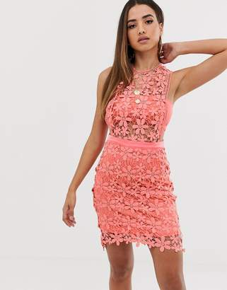 Missguided lace shift dress in coral