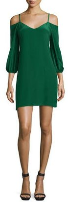 Alice + Olivia Carli Cold-Shoulder Crepe Mini Dress $275 thestylecure.com