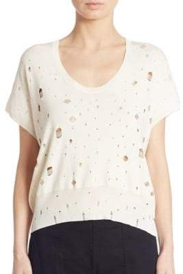 Alexander Wang Distressed Short Sleeve Sweater