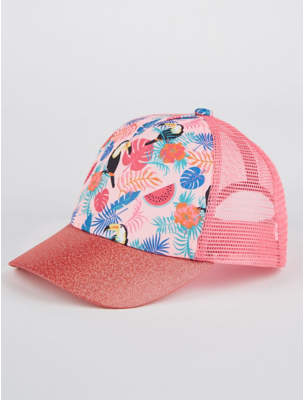 George Pink Shimmering Tropical Print Cap