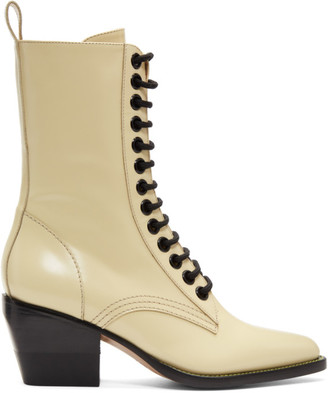 Chloé Yellow Lace-Up Boots