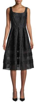 Carmen Marc Valvo Brocade Fit-&-Flare Dress w/ Mesh Insets