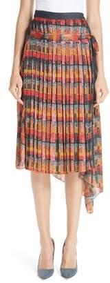 ADAM by Adam Lippes Print Satin Chiffon Pleated Skirt