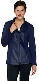 Dennis Basso Faux Leather & Ponte Knit ZipFront Jacket