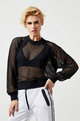 Blanc Noir Irie Cropped Sheer Sweatshirt