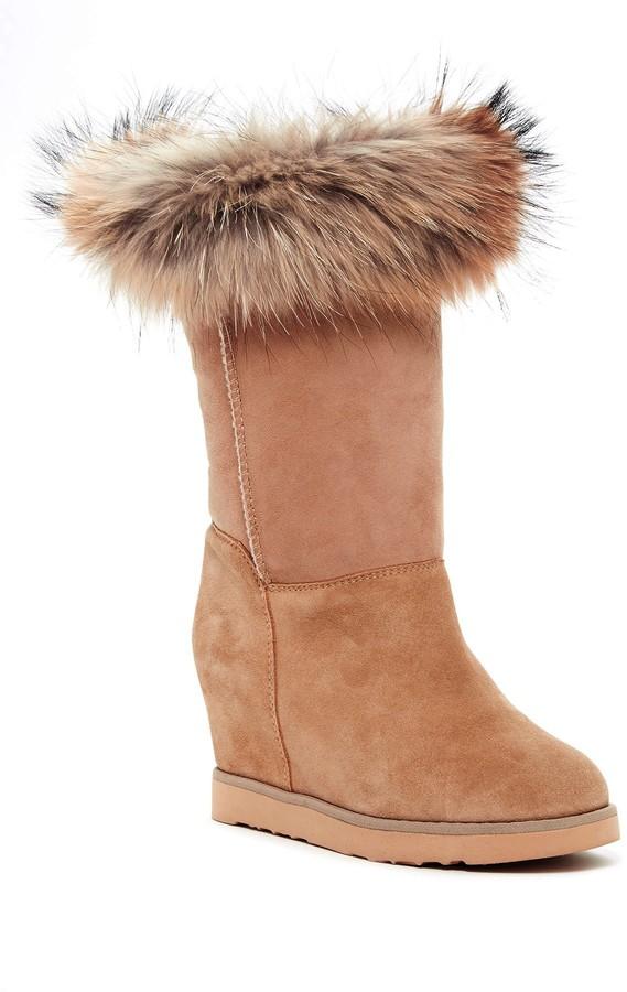 Australia Luxe CollectiveAustralia Luxe Collective Foxy Tall Hidden Wedge Genuine Fox Fur and Shearling Boot