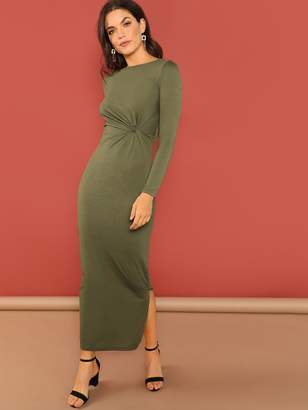 Shein Twist Front Slit Side Maxi Dress