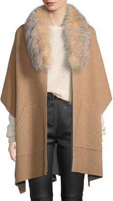 Sofia Cashmere Double-Face Cashmere Cape w/ Fur Collar