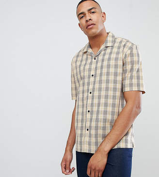 Asos DESIGN Tall oversized boxy check shirt in brown with revere collar