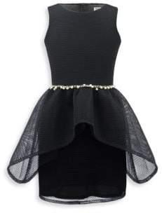 David Charles Girl's Mesh Double Skirt Dress