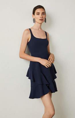 BCBGMAXAZRIA Sleeveless Asymetrical Ruffle Dress
