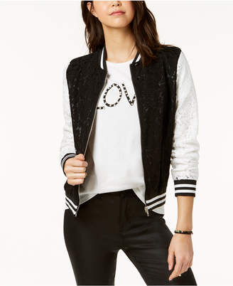 Say What Juniors' Contrast Lace Varsity Jacket